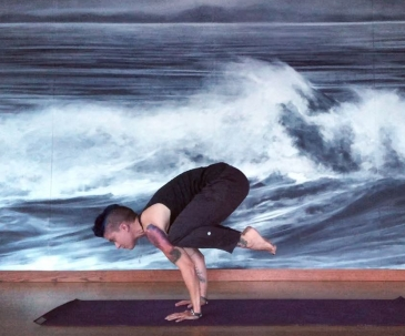 yoga crow pose wave wall